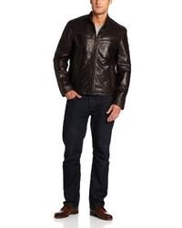 Dockers Washed Leather Racer Jacket