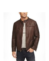 Express Leather Biker Jacket Brown Large
