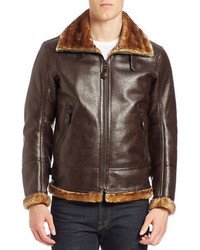 Andrew Marc Faux Fur Trimmed Faux Leather Pilot Jacket