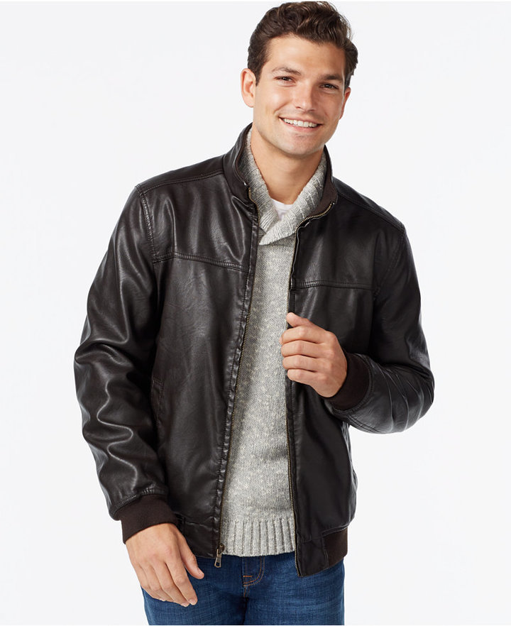 4c22ff048 $195, Tommy Hilfiger Faux Leather Bomber Jacket