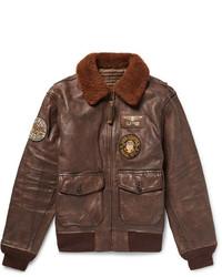 G1 appliqud shearling trimmed distressed leather bomber jacket medium 6739150