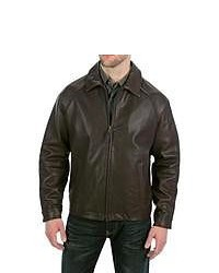 Golden Bear The Richmond Jacket Shrunken Lambskin Leather Dark Brown