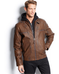 Calvin Klein Hooded Faux Leather Moto Jacket