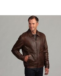 Izod Antique Brown Leather Pilot Jacket