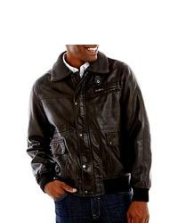 Izod Faux Leather Bomber Jacket