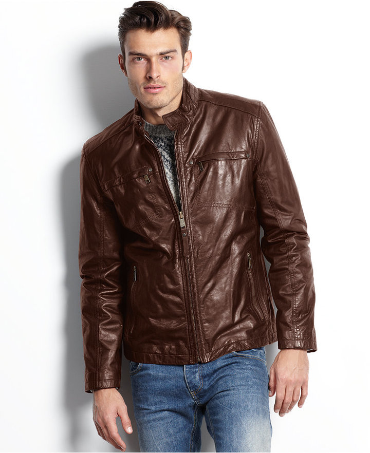 Marc New York Jacket Vine Lightweight Calf Leather Moto Jacket ...