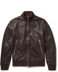 Officine Generale Laurent Full Grain Leather Bomber Jacket