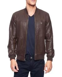 True Religion Leather Baseball Bomber Jacket