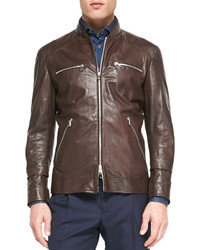 Brunello Cucinelli Leather Pilot Jacket Dark Brown
