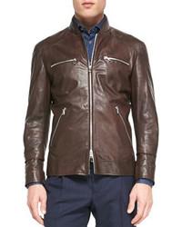 Brunello Cucinelli Leather Pilot Jacket Denim Polka Dot Sport Shirt Single Pleat Wool Trousers