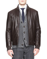 Brunello Cucinelli Leather Thermore Bomber Jacket