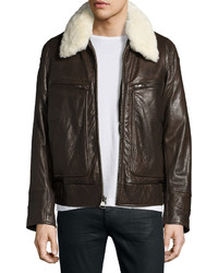Andrew Marc Marc New York By Carmine Leather Bomber Jacket Brown