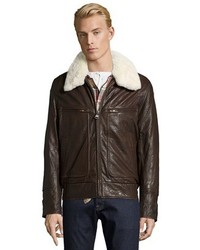 Andrew Marc Marc New York Espresso Sherpa Trimmed Leather Carmine Bomber Jacket