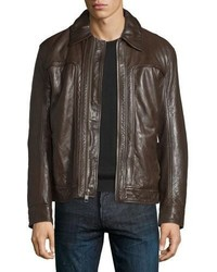 Andrew Marc Outpost Leather Bomber Jacket Espresso