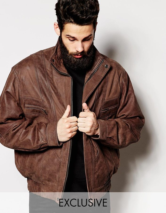 Reclaimed Vintage Oversized Leather Bomber Jacket | Where to buy ...