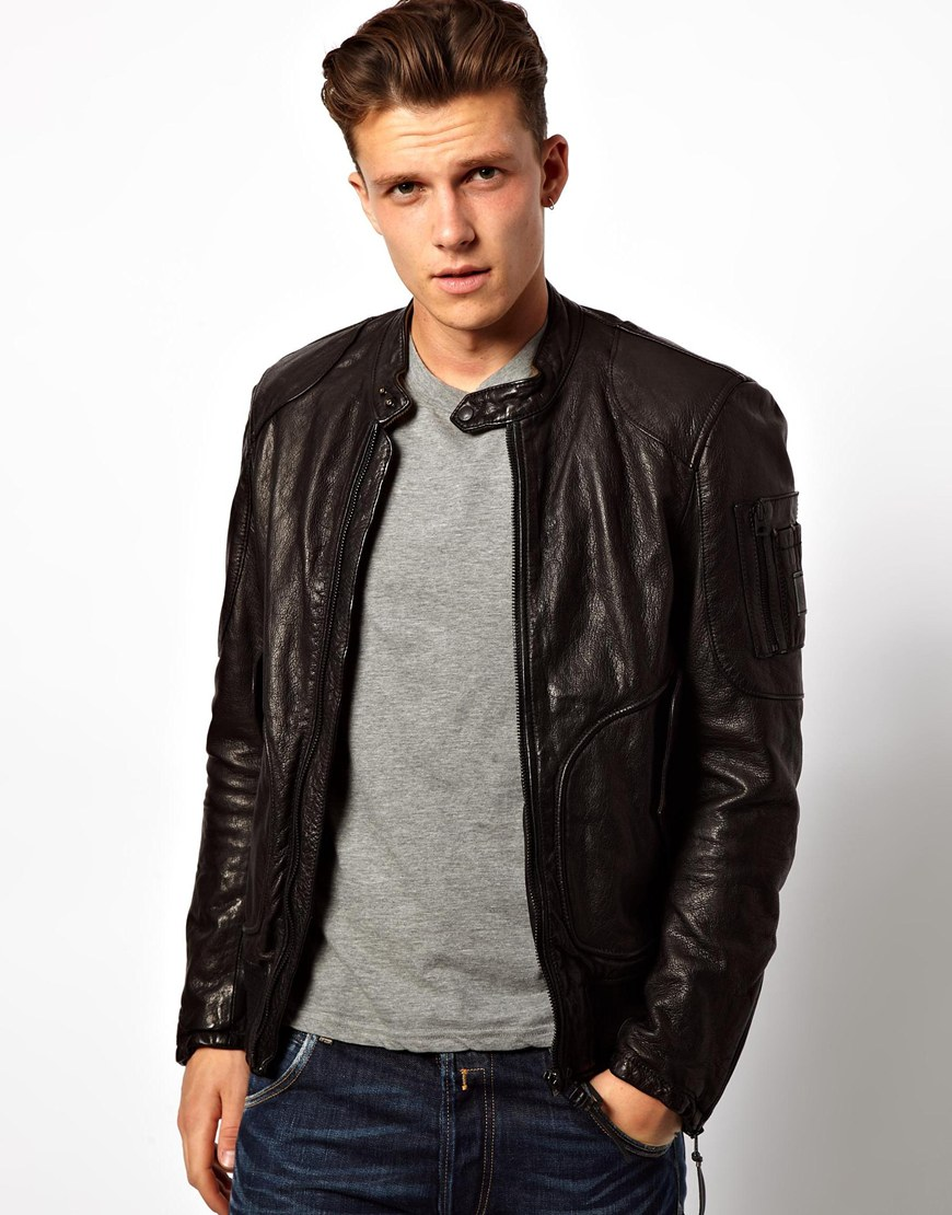 Brown Leather Bomber Jackets For Men - Coat Nj