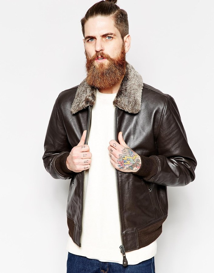 Collection Mens Leather Bomber Jacket With Fur Collar Pictures ...