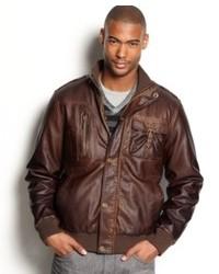 Sean John Jacket Faux Leather Bomber Jackets