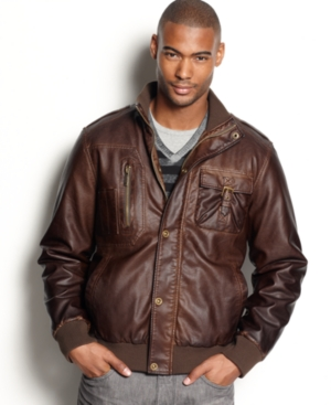 Sean john faux leather bomber jacket