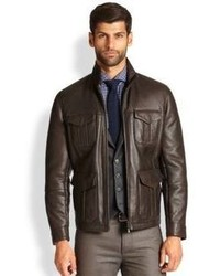 Brunello Cucinelli Shearling Lined Leather Bomber Jacket