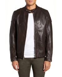 LAMARQUE Stitch Detail Leather Racer Jacket