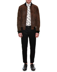 Dolce & Gabbana Treated Leather Zip Up Bomber Jacket Brown