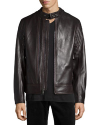 Andrew Marc Windsor Leather Racer Jacket Dark Brown