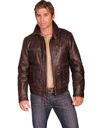 Scully Zip Front 4 Pocket Leather Jacket 242 Brown Western Clothing