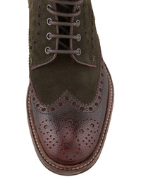 Hugo Boss Boss Lunno Suede Leather Wing Tip Ankle Boot Greenbrown