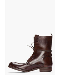 Officine Creative Dark Brown Leather Culatta Lace Up Boots