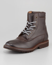 Brunello Cucinelli Polished Leather Lace Up Boot Brown