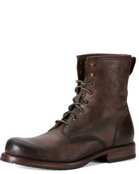 Frye Wayde Leather Combat Boot Brown