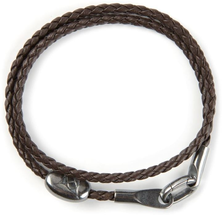 bottega in veneta intrecciato black leather knot woven bracelet jewelry lyst men for