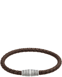 Jan Leslie Braided Leather Magnetic Bracelet Brown
