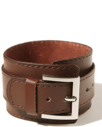 ChicNova Brown Wide Leather Bracelet With Pin Buckle Detail