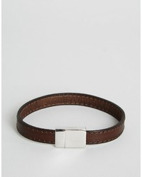 Ted Baker Clasp Bracelet With Leather Stitch