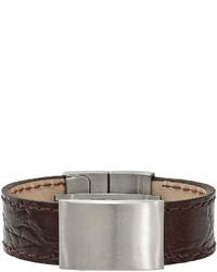 Fine Jewelry Stainless Steel Dark Brown Leather Id Bracelet