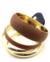 ChicNova Golden Leather Bracelet With Multi Layer Design