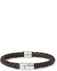 Intrecciato leather and silver bracelet medium 234294