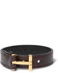 Tom Ford Leather Gold Tone Bracelet