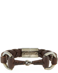 Leather horsebit bracelet brown medium 670687