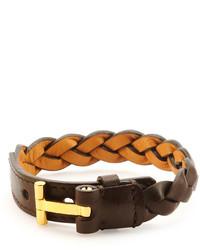 Tom Ford Nashville Braided Leather Bracelet Dark Brown