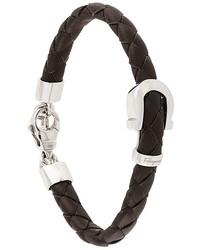 Salvatore Ferragamo Woven Silver Buckle Bracelet