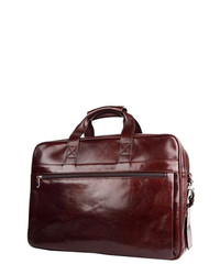 Bosca Double Compartt Leather Briefcase Dark Brown One Size