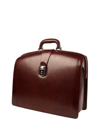 Bosca triple compartt leather briefcase brown one size medium 223043