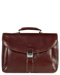 Robe Di Firenze Dark Brown Front Pocket Leather Briefcase