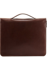 Brunello Cucinelli Leather Portfolio Case With Handle Dark Brown