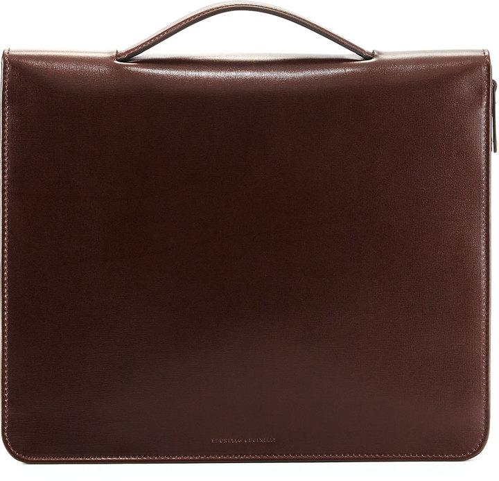Brunello Cucinelli Leather Portfolio Case With Handle Dark Brown