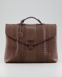Bottega Veneta Mixed Weave Leather Briefcase Brown