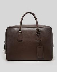 Prada Saffiano Zip Top Lock Briefcase Brown